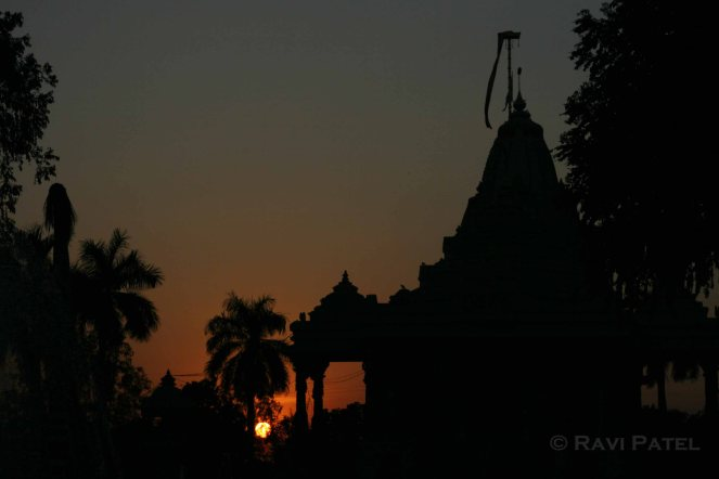 Temple Silhouette at Sunset