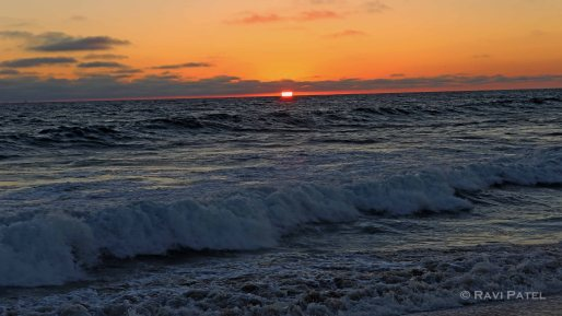 Fiery Waves at Sunset