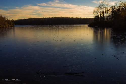Evening Glow on a Frozen Lake