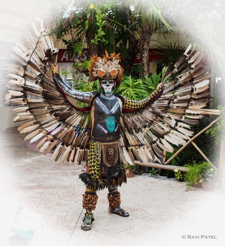 A Mayan Warrior in Full Dress