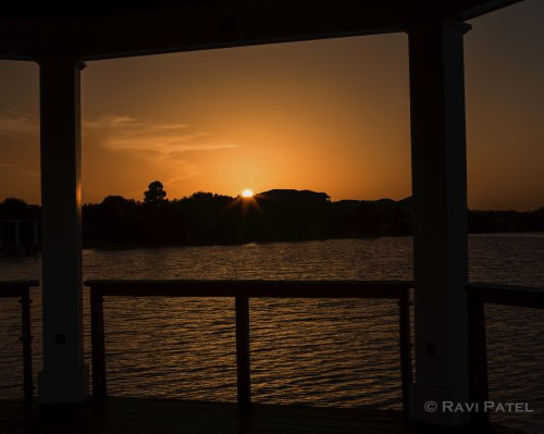 Sunset from a Lakefront Gazebo