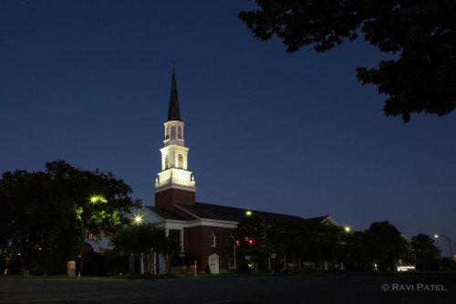A Lighted Church at Blue Hour