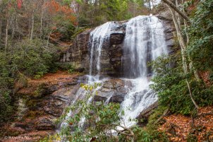 A Waterfall in the Woods in Fall