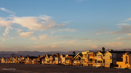 Beach Homes Basking in Sunshine at Golden Hour