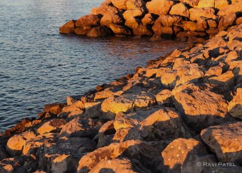 Evening Glow on Rocks