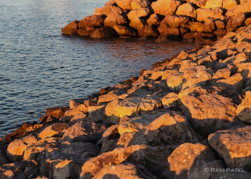 Evening Glow on Rocks
