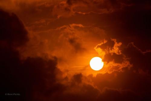 A Blazing Sun at Sunset