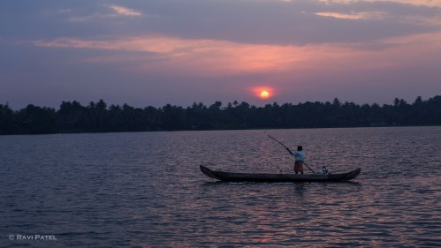 A Fisherman at Sunset on Vembanad Lake