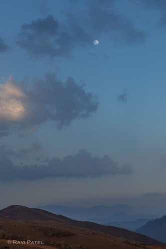 A Moon in the Sunset Sky