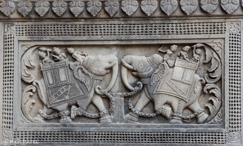 A Carving of Fighting Elephants