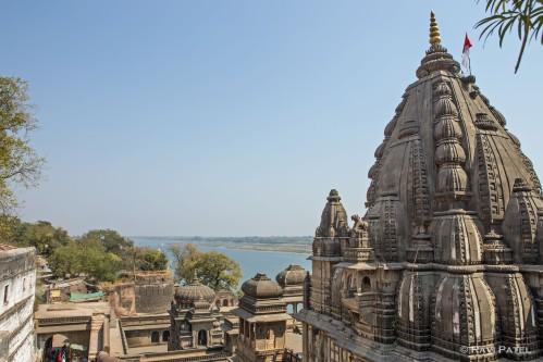 Maheshwar Temple at Ahilya Fort Overlooking Narmada River