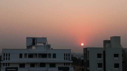 Sunrise over Vadodara Buildings